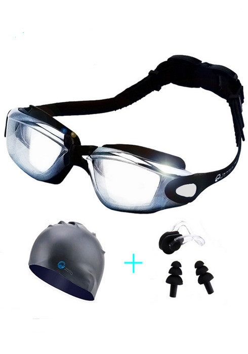 Adult Outdoor Swimming Goggles With Cap Ear Plugs Nose Clip 4pcs/Set