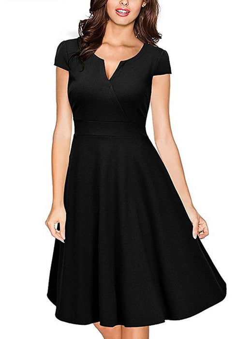 Audrey Hepburn 50s Womens Formal V Neck Casual Office Wear Dress