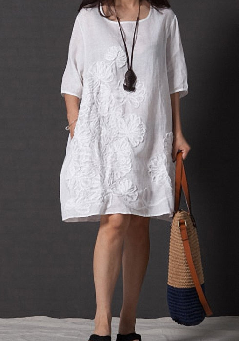 Women Summer Plus Size Embroidery Cotton Linen Floral Dress