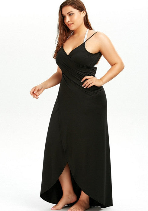 Womens Plus Size Casual Solid Color Sleeveless Maxi Beach Dress