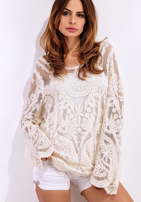 Beach Holiday Hollow Out Long Sleeve Lace Solid Swimsuit Cover Ups