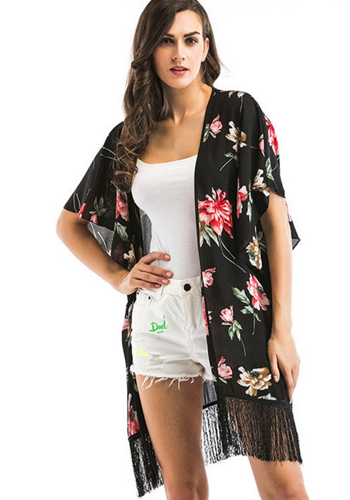 2018 Spring Women Floral Beach Chiffon Tassel Cover Up