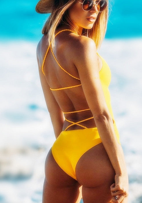 Sexy Yellow Backless One Piece Swimsuit Women Padded Bandage Bathing Suit