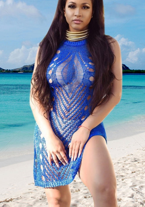 2018 Sexy Hollow Out Blue Women's Bikinis Cover Up