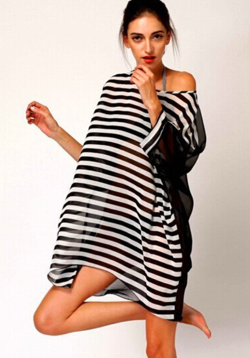 Women's Summer Chiffon Black and White Stripes Swimsuit Bikinis Cover Up