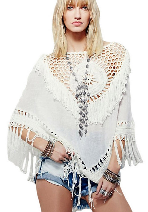 Beach Bikinis Cover Ups Crochet Hollow Tassels Chiffon Cloak