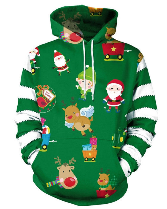Adult Cute Santa Print Long Sleeve Christmas Hoodie