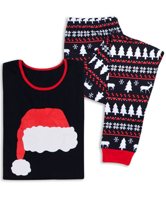 Christmas Hat Print Loungewear Christmas Family Matching Outfits