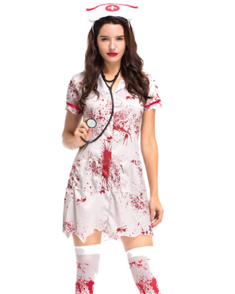 Women's Halloween Costume Nurses Blood Cosplay Dress Cosplay Costume