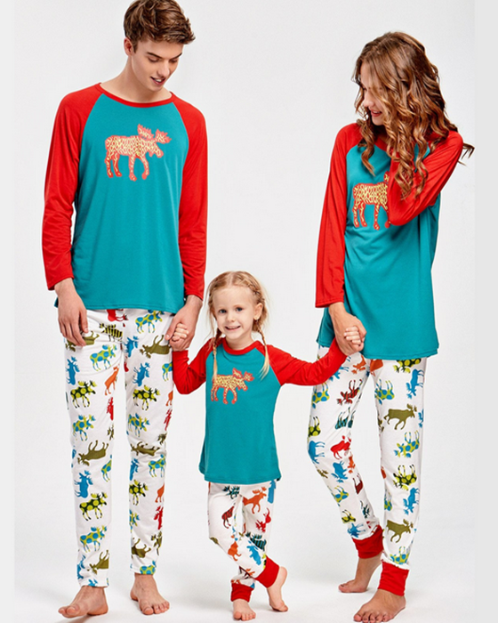 Christmas Deer Print Family Matching Outfits Loungewear Christmas