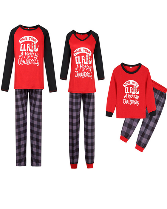 Christmas Loungewear ELF Print Christmas Family Matching Outfits