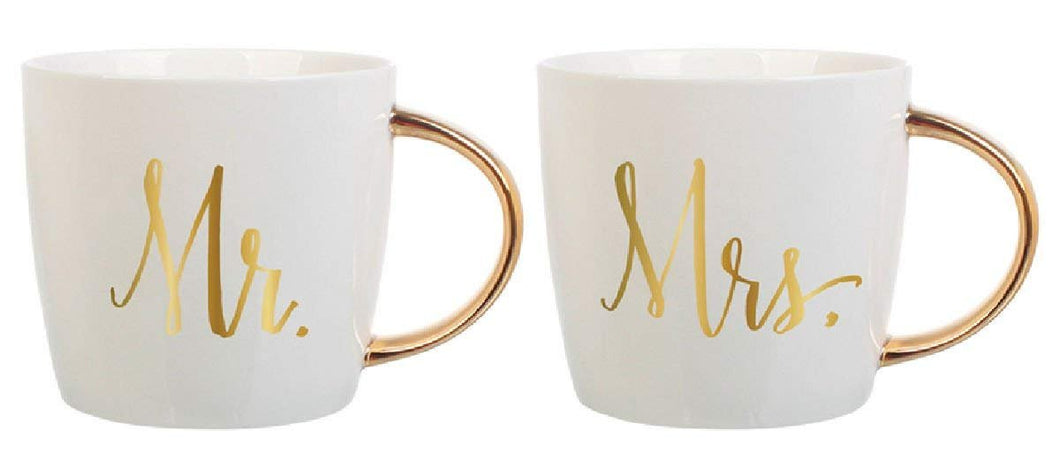 Ceramic Coffee Mugs 14oz - Mr & Mrs by Slant