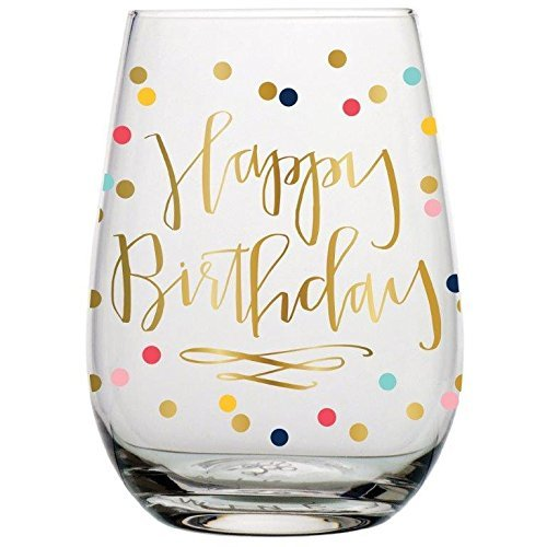 Wine Glass - 20 oz Happy Birthday by Slant
