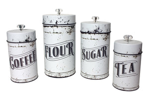 Canister Set, Vintage Style White by Timeless Design