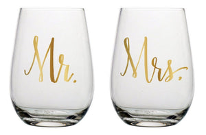 Stemless Wine Glasses, Mr & Mrs - Set of 2 by Slant