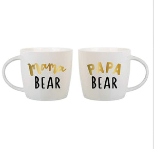 Ceramic Coffee Mugs 14oz, Mama Bear & Papa Bear by Slant