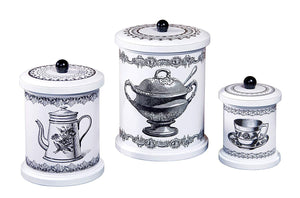 Canister Set, Black and white By Timeless Design