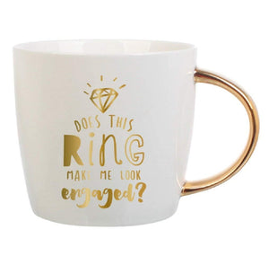 "Slant 14oz Mug ""Does this Ring Make Me Look Engaged"""
