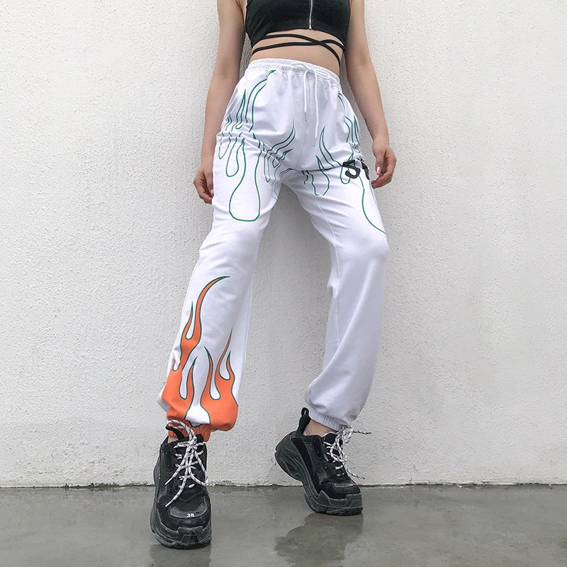 Womens Flaming Fire Pants - Ice Cold Lmnd Womens Flaming Fire Pants