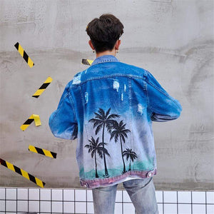 Palm Tree Denim Jacket - Ice Cold Lmnd Palm Tree Denim Jacket