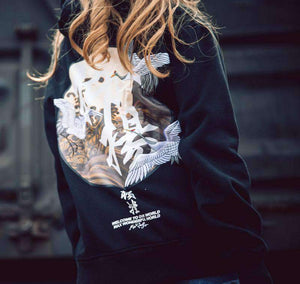 Embroidered Japanese Cranes Hoodie - Ice Cold Lmnd Embroidered Japanese Cranes Hoodie