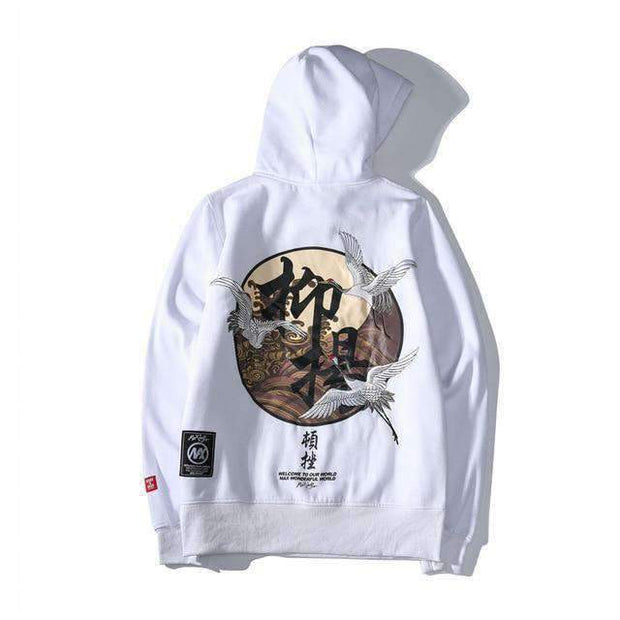 icecoldlmnd hoodie White / XS Embroidered Japanese Cranes Hoodie ice cold lmnd streetwear
