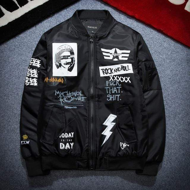 Rock N' Roll Bomber Jacket - Ice Cold Lmnd Rock N' Roll Bomber Jacket