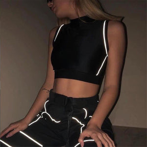 """Reflective"" Black Crop Top - Ice Cold Lmnd ""Reflective"" Black Crop Top"
