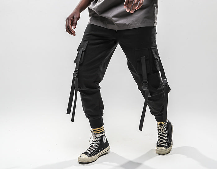 Slim Fit Strap Style Hip Hop Joggers - Ice Cold Lmnd Slim Fit Strap Style Hip Hop Joggers