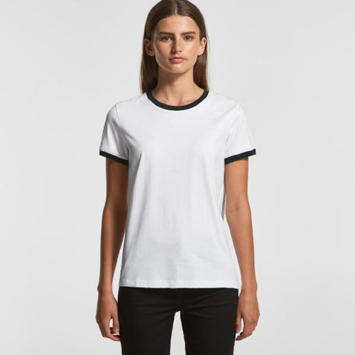 Women's Ringer Tee - Black (AS Colour)