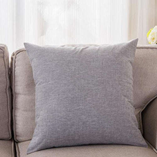 CUSHION/PILLOW COVER ONLY (SILVER GREY)- COTTON LINEN 45CM X 45CM