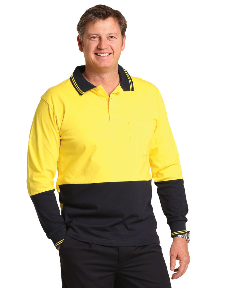 Cotton Jersey two tone Long Sleeve Safety Polo (Australian Industrial)