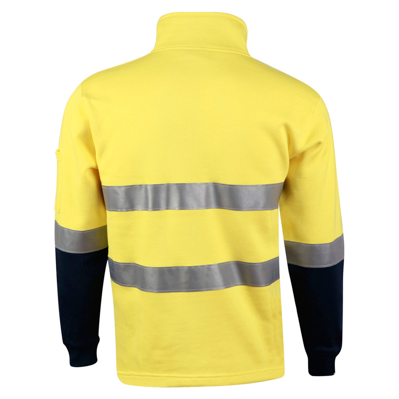 Hi-Vis Two Tone Cotton Fleece Sweat With Reflective Tapes (Australian Industrial)
