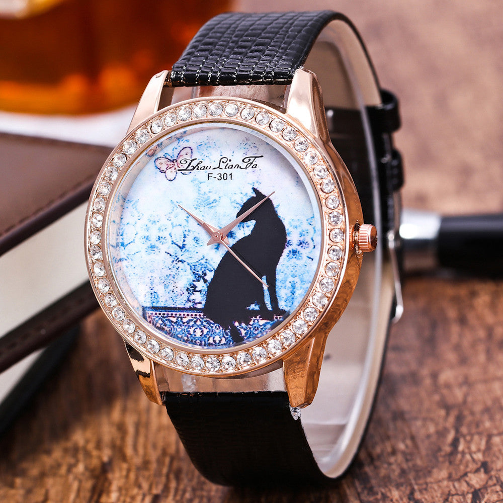 Lucky Cat Leather Watch