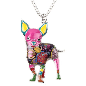 Colorful Chihuahua Pendant Necklace