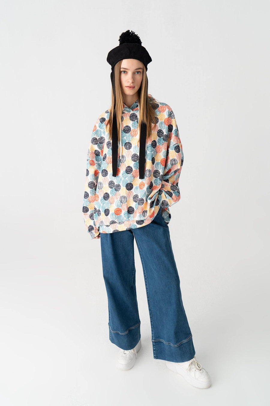 Multi Colored Dot Patterned Hoodie