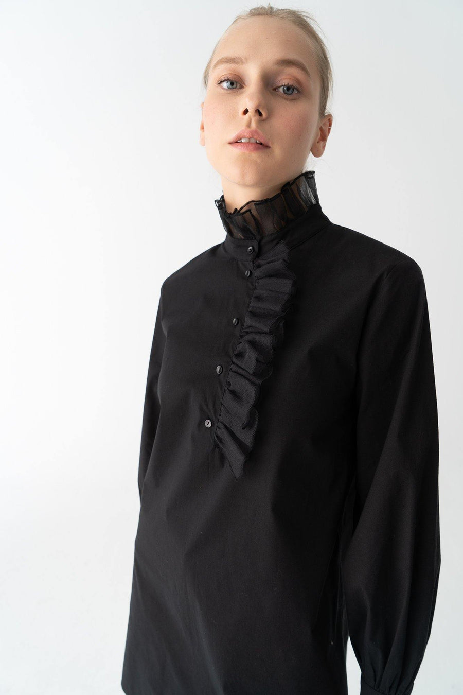 Organze Detailed Poplin Tunic