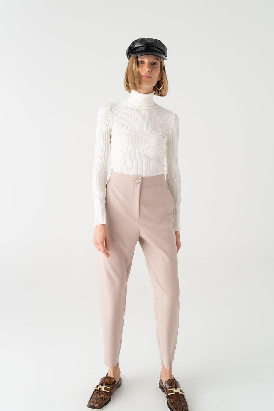 Elastic Waisted Cigarette Trousers