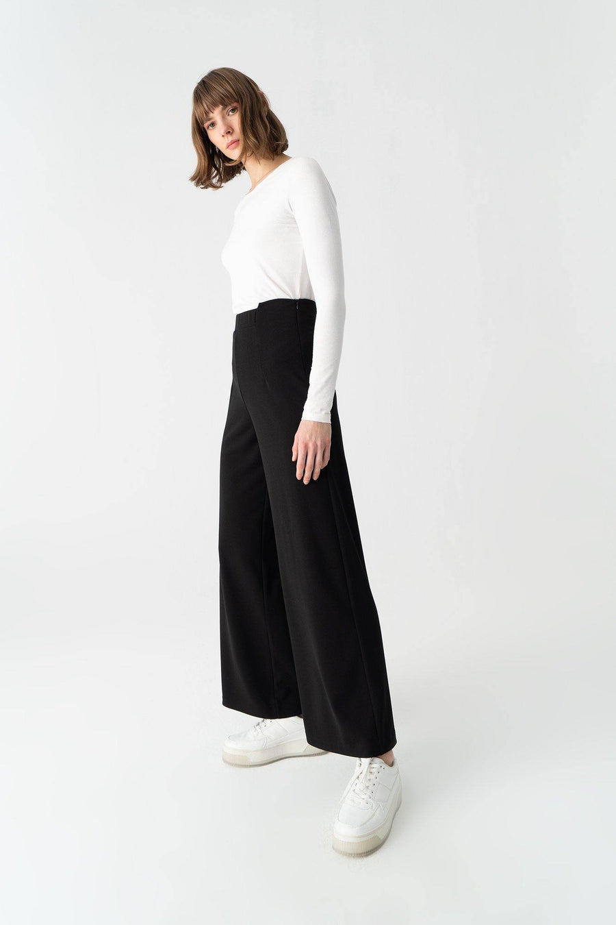 Jersey Crepe Wide Leg Trousers