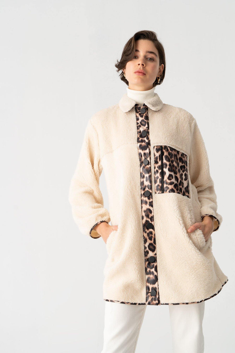 Leopard Detailed Puffy Coat