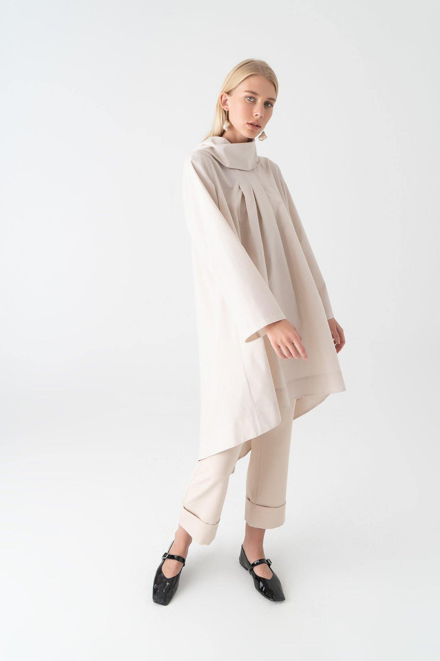 Wide Collar Poplin Tunic