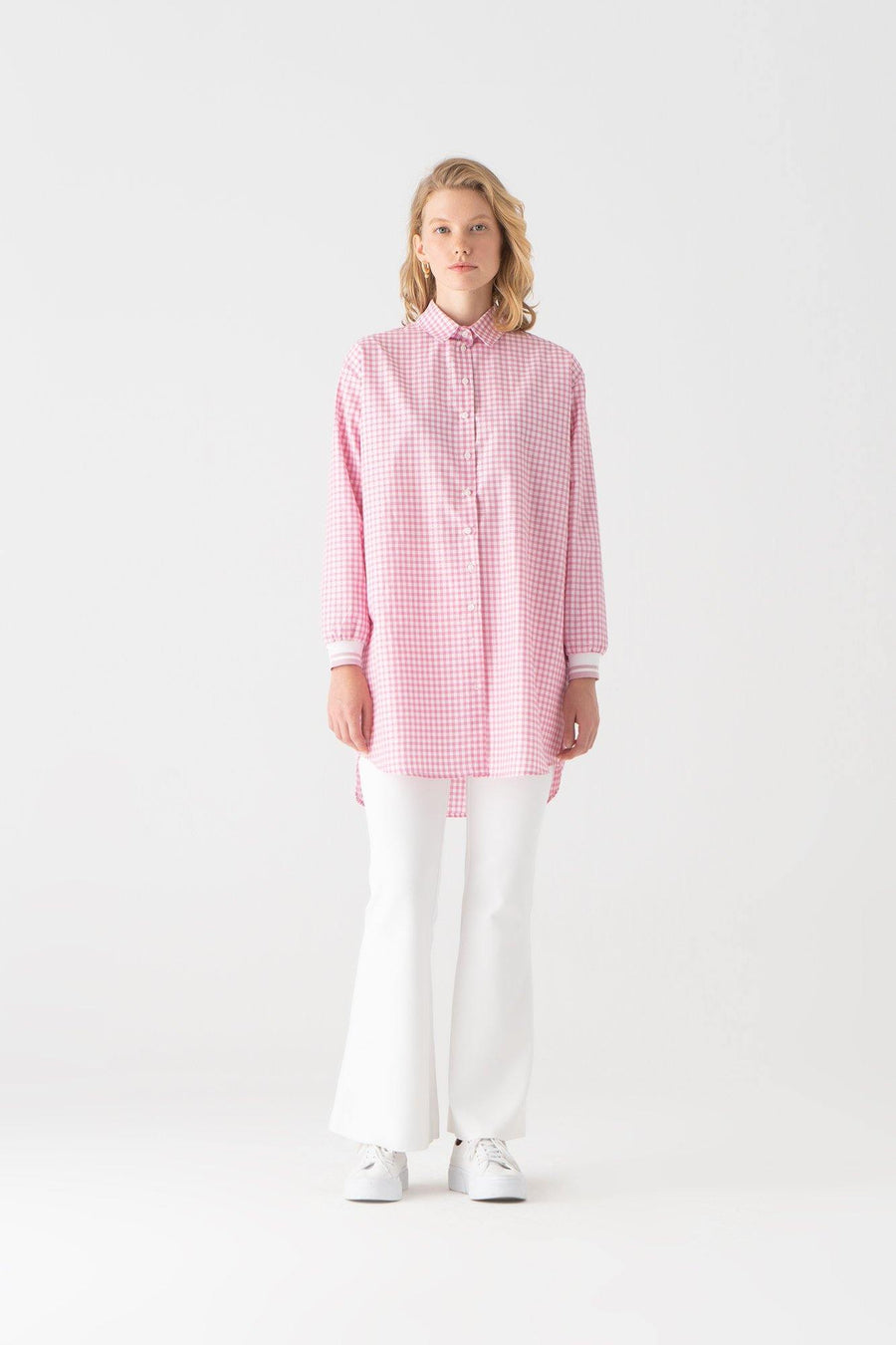 Silvery Gingham Ribbed Shirt