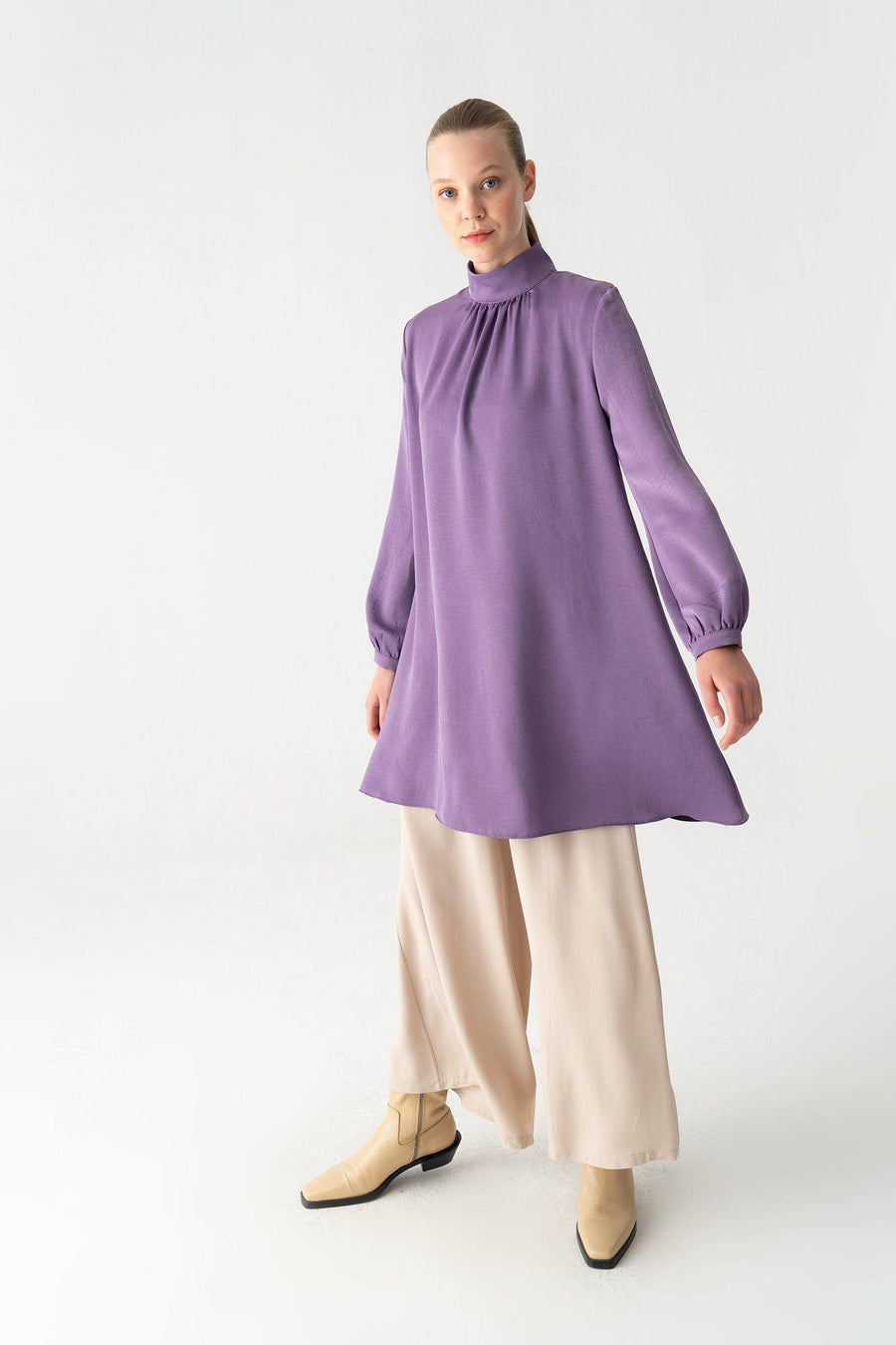 Turtleneck Shirred A-Line Tunic