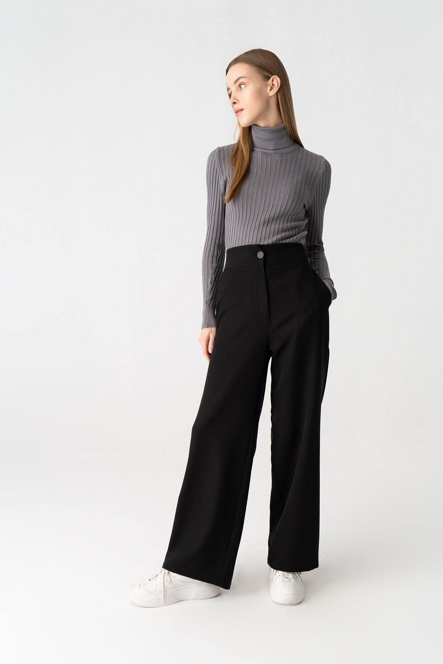 Lycra Wide-Leg Trousers