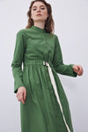 Grosgrain Belted Shirred Dress