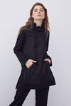 Vertical Neck Knitted Garnished Windbreaker Tunic