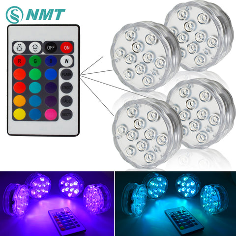 10leds RGB Led Underwater Light Pond Submersible IP67 Waterproof Swimming Pool Light Battery Operated for Wedding Party