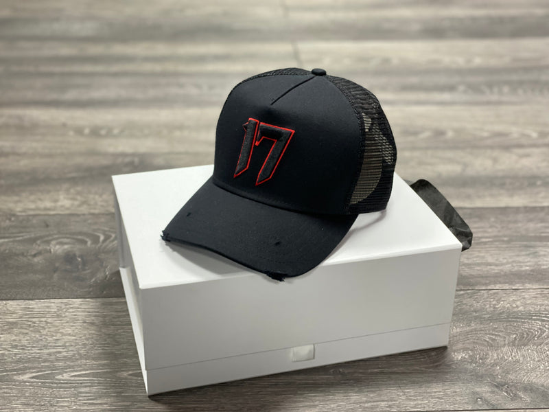 ONE.SEVEN17 - TRUCKER CAP - BLACK/BLOOD RED