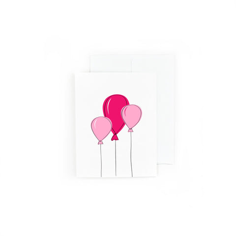 Pink Balloons Happy Birthday Card