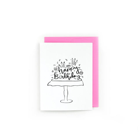 Black and White Cake Happy Birthday Card